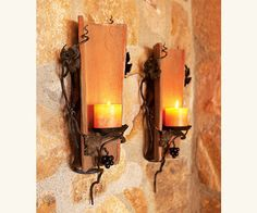 Antique Style Tuscan Tile Sconces: good for wine cellar or other old world style rooms