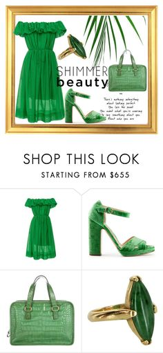 """Green"" by onetwothee ❤ liked on Polyvore featuring Paule Ka, Rupert Sanderson, Prada, Vintage and monochrome"