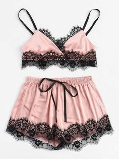 Contrast Lace Trim Cami With Shorts -SheIn(Sheinside) Satin Lingerie, Lingerie Outfits, Pretty Lingerie, Lingerie Sleepwear, Lingerie Set, Women Lingerie, Nightwear, Lingerie Shorts, Lace Shorts