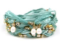 Turquoise Vintage Ribbon Wrap Bracelet with Gold Rhinestone and Pearl Pendants Ettika :: Bracelets :: Vintage :: Ribbon Bracelets, Ribbon Jewelry, Jewelry Crafts, Beaded Jewelry, Jewelry Bracelets, Jewelery, Handmade Jewelry, Textile Jewelry, Fabric Jewelry