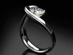 Modern, flowing palladium diamond engagement ring #diamond #ring #design