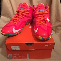 """Nike Lebron 11 """"Fruity Pebbles"""" **Youth 5.5= Women's 7.5** Ultra-lightweight Flywire cables wrap the foot and adjusts dynamically with your movement. Phylon™ midsole brings a combination of impact protection and responsive cushioning. Hyperfuse upper fuses three different layers of material together resulting in ultra-light support and breathability. Thin, durable rubber outsole enhances court traction. Nike Shoes Sneakers"""