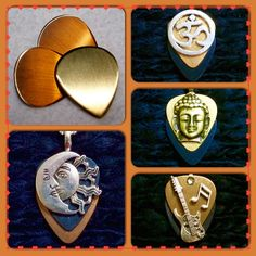 The beauty of mixed metal guitar pick pendants! Celestial silver black copper pendant $26, om silver copper black pendant $26, gold black Buddha pendant $26, bronze black Strat musical pendant $28 - purchase thru our website