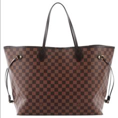 Louis Vuitton Damier Ebene Neverfull GM. Louis Vuitton Damier Ebene Neverfull GM.  This is a classic tote bag in the larger size is crafted of traditional Louis Vuitton dark brown Damier checked coated canvas.  The bag features dark brown leather shoulder strap handles, trim, and side cinch cords and polished brass hardware.  The top opens to a spacious red and black striped fabric interior with a zipper pocket.  Overall like new condition, very invisible lining sign of wear.  Date code…