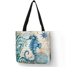 Customize Tote Bag Seahorse Turtle Octopus Pattern Traveling Shoulder Bags Eco Linen Shopping Bags For Women with Print handbag Printed Linen, Printed Bags, Market Bag, Reusable Bags, Casual Bags, Cross Body Handbags, Crossbody Bag, Purses, Shopping Bags