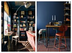 Moody Blue wall, library, eclectic contemporary interior design