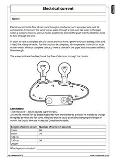 Electrical current (1) - Natural Science Worksheet (Grade 6)
