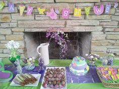 Baby shower purple green desert table