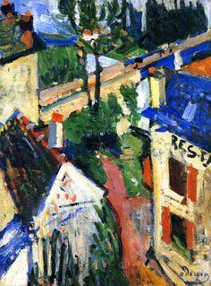 ۩۩ Painting the Town ۩۩ city, town, village & house art - Baker's hotel, Andre Derain Andre Derain, Henri Matisse, Raoul Dufy, Georges Braque, Art Fauvisme, Maurice De Vlaminck, Cityscape Art, French Artists, Pablo Picasso
