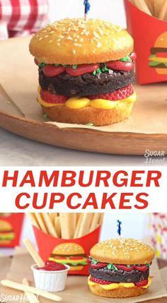 Creative Desserts, Cute Desserts, Desserts To Make, Delicious Desserts, Fun Deserts To Make, Baking Ideas Creative, How To Make Hamburgers, Homemade Hamburgers, Hallowen Food
