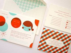 Mid-Century Modern wedding invitations