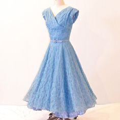 Vintage 50s Dress Teal Embroidered Organza 1950s by daisyandstella.just needs something up top.