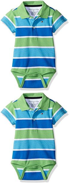 Tommy Hilfiger Baby Boys' Short Sleeve Striped Shaun Bodysuit, Zen Blue, 6 Months