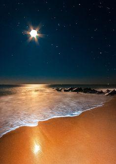 "coiour-my-world: ""Ocean Moonrise, Vilano Beach, Florida by Ellen Cave """