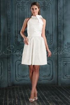 Wedding Dress by SimplyBridal. This sleeveless chiffon and taffeta dress is casual and chic. Embellished with a bow, a removable waist sash, and plenty of ruching, this gown is a gorgeous choice for garden or beach weddings. The A-line silhouette is one of the most popular wedding dres. USD $99.99