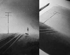 uomo cane ferrovia