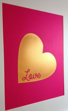 Gold Heart Love printhome decor 11z14 Gold on by metallicprints, $35.00