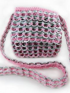 Recycled Can Tab Shoulder Bag with Flap. Awesome! Made in #Guatemala #FairTrade