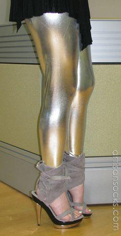 Women's Shiny Lame Leggings in Black, Gold, and Silver from Artisan Socks www.artisansocks.com