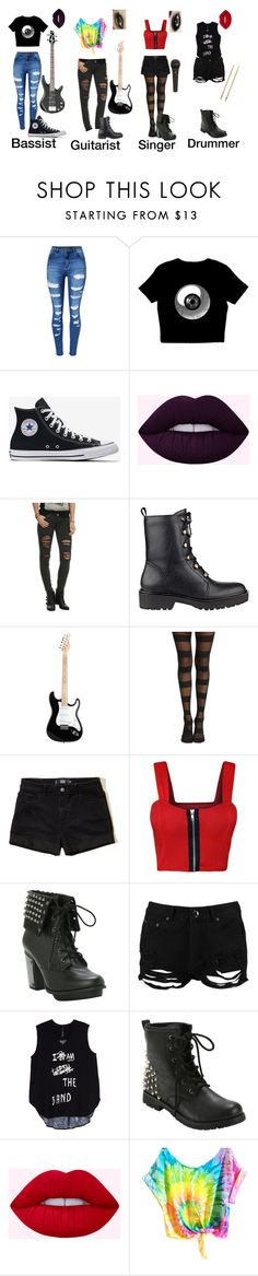 """""""For Baltimore   some band I made up"""" by arandombridge ❤ liked on Polyvore featuring WithChic, GUESS, Hollister Co., WearAll, Boohoo, Max Factor, Melissa McCarthy Seven7 and plus size clothing"""