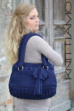Bolsa CROCHET patrón textil hilados S0007 por Knittiamo en Etsy
