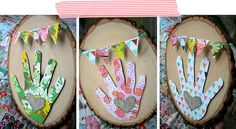 LOVE THIS!!  Mothers Day handprint art - on embroidery hoops w/ constrasting fabric