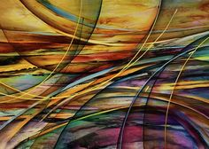 Abstract Greeting Card featuring the painting Shore by Michael Lang