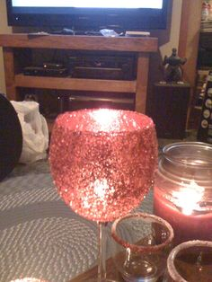 DIY Friday :  wedding features IMG 0548 Glitter Wine Glass Candle Holders :  wedding candles diy glitter bling red wine glass cheap recycle reception IMG 0548