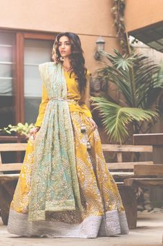 Sanober Azfar Lehenga Collection features vibrant lehengas which are lightly embellished, making them ideal for Mehndi Pakistani Wedding Dresses, Indian Wedding Outfits, Pakistani Bridal, Pakistani Outfits, Bridal Outfits, Bridal Lehenga, Indian Bridal, Indian Dresses, Indian Outfits