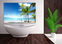 Bright colours can add some extra light in the bathroom. www.mural24.co.uk