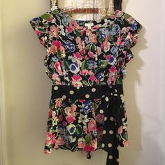 Odille Floral and Polka Dot Blouse This is the cutest blouse; I wish it fit me!  It is in excellent condition and the floral pattern is just beautiful. 100% Silk. Anthropologie Tops Blouses