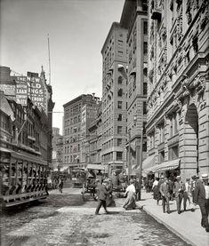 "Boston, Massachusetts, circa 1906. ""Newspaper Row, Washington Street"