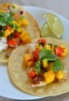 Baked Fish Tacos with Mango Salsa   mountainmamacooks.com #glutenfree #halibut