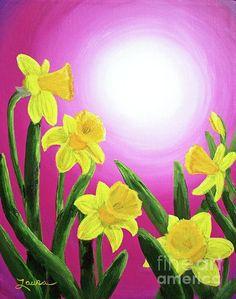 Daybreak Daffodils Painting - Daybreak Daffodils Fine Art Print: