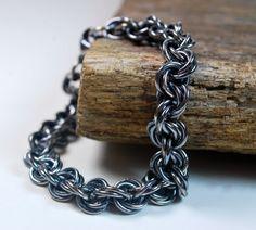Mens #Chainmaille Bracelet Sterling Silver Bracelet by UrbanLynx #blacksilver