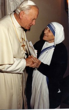 .Pope John Paul II and Mother Teresa (Saints) #MotherTeresa