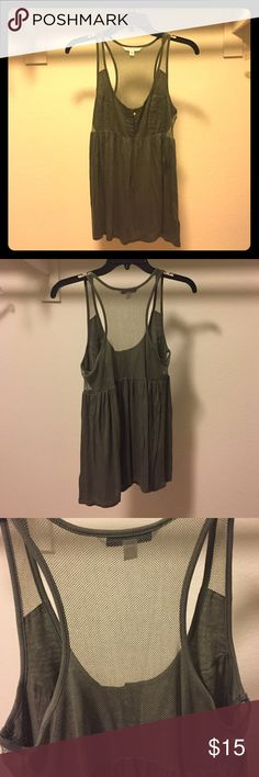 American Eagle Green Top with Mesh Green tank top from American Eagle. Has mesh in the back. No tag but never worn. American Eagle Outfitters Tops