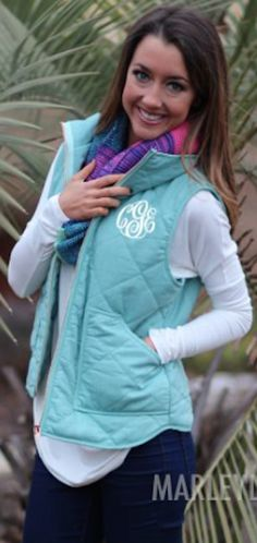 pretty monogrammed quilted vests in so many colors, on sale for only $44.99! http://rstyle.me/n/wtkx5r9te