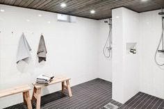 Sauna departments in residential buildings in Finland are very common. They are more like a must than nice to have kind of a thing. This sauna department got a Finnish Sauna, Design Your Home, Dressing Room, Home And Living, Living Room Decor, New Homes, Bathtub, Layout, Shower