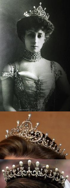 Given by her parents to Princess Maud of Wales when she married Carl of Denmark in 1896, the tiara is designed with diamond scroll and festoon motifs topped with pearls. In 1905, Carl was chosen to become king of the newly independent Norway and took the name King Haakon VII. The tiara remained in the possession of the Norwegian crown.