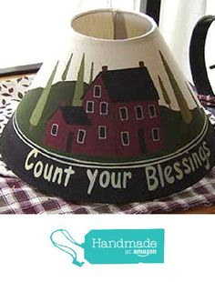 Count Your Blessings Natural Linen Lampshade from Primitive Country Loft House https://www.amazon.com/dp/B01E1LGCPU/ref=hnd_sw_r_pi_awdo_eaFlyb1ZZ110D #handmadeatamazon