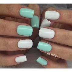 gel nails Nägel Gel Green Mint Trendy Ideas The Latest Hairstyle Fashion and Beauty Tr Mint Green Nails, Mint Nails, White Nails, White Nail Polish, Stylish Nails, Trendy Nails, Nailart, Dipped Nails, Cute Acrylic Nails