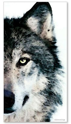 Wolf Art Print Painting Wolves Timber Woods Gray Brown Animals Nature Wildlife CANVAS Ready To Hang Large Artwork FREE Shipping S/H--art by Sharon Cummings via Etsy