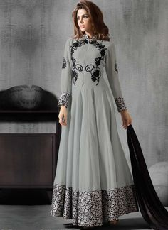 Grey Black Embroidery Work Georgette Brocade Border Long Anarkali Suit