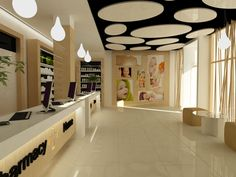 Pharmacy by Dorin Sava, via Behance Balinese Bathroom, Shop Interior Design, House Design, Store Plan, Pharmacy Store, Retail Architecture, Modern Office Design, Clinic Design, Retail Store Design