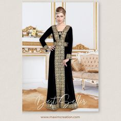 Pave way for endless compliments in this charming black velvet Kaftan Maxi Gown. A top favourite among our clients, this outfit is adorned with golden lace work as well as crystals and comes with a matching belt. Product no: 6117 Kaftan Abaya, Arabic Dress, Black Abaya, Maxi Gowns, Black Velvet, Formal Dresses, Lady, Womens Fashion, How To Wear