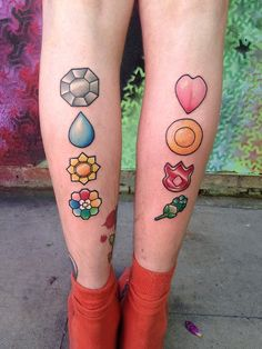 Original Pokemon Gym Badges! Done in one sitting :) Artist: Jules at Dabs Tattoos, Southport, England. I.G: @juliathehuman_    @dabstattoos ...
