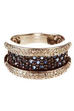 Diamond & Blue Sapphire Silver Ring