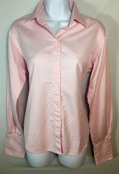 Womens PAUL STUART Pink Striped Cotton Shirt Top Button Front ItalyLarge L #PaulStuart #ButtonDownShirt #CareerCasualEvening