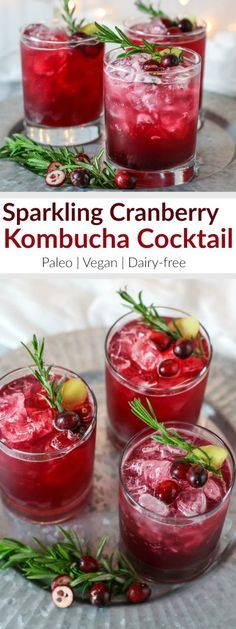 Sparkling Cranberry Kombucha Cocktail | This alcohol-free mocktail is a refreshing and stunning alternative to other holiday cocktails. The ginger and rosemary lend a festive touch and pair nicely with the tart cranberry juice. So now you can celebrate the night away without a headache or dehydration - plus you get a healthy dose of probiotics! | Paleo | Vegan | Dairy-free | therealfoodrds.com
